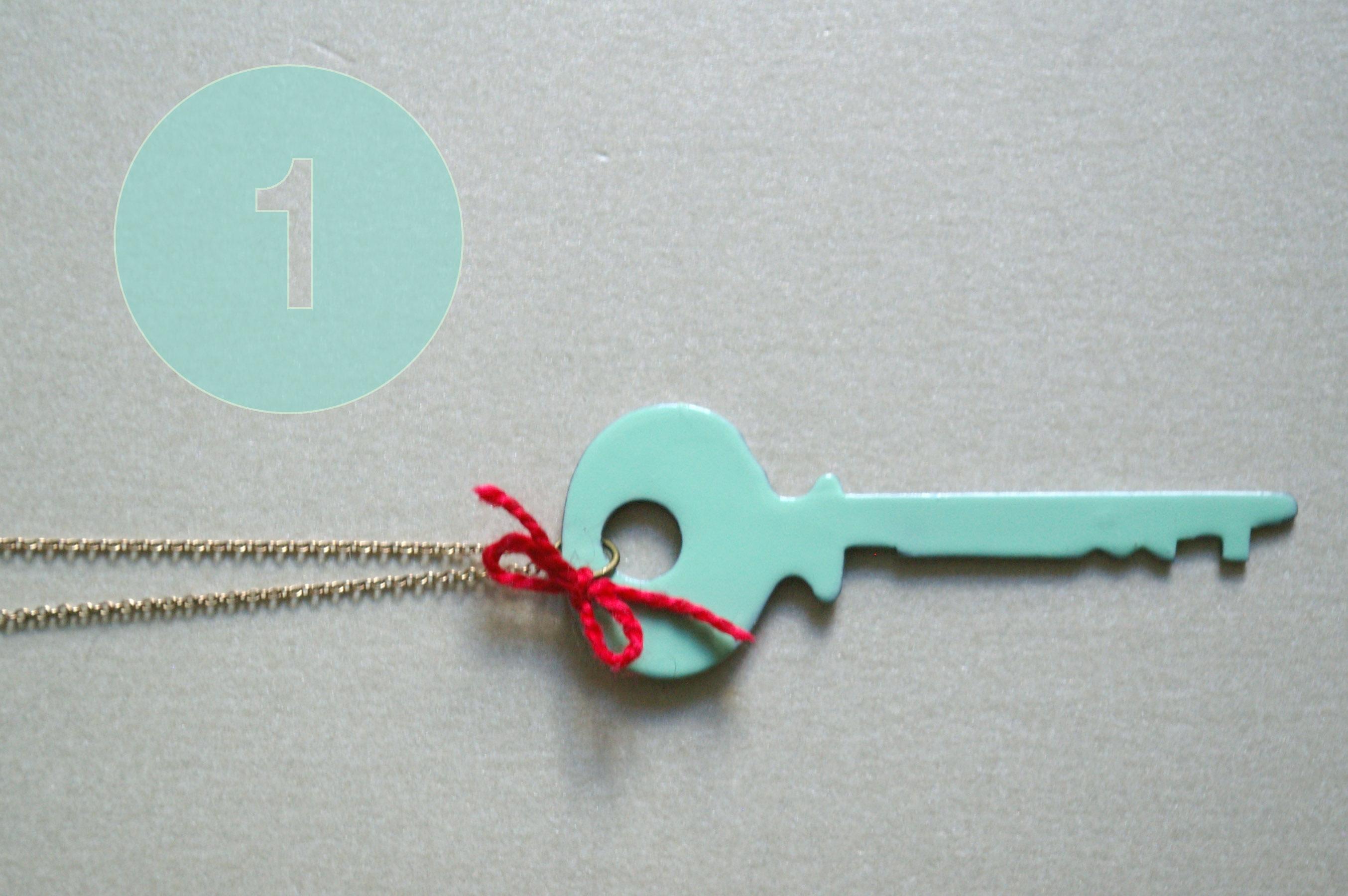 de estilo retro de bricolaje clave collar