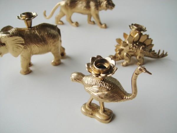 DIY golden animal candle holders