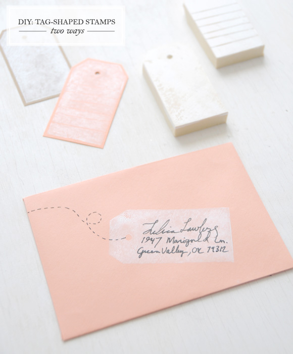 DIY rubber gift tag stamp