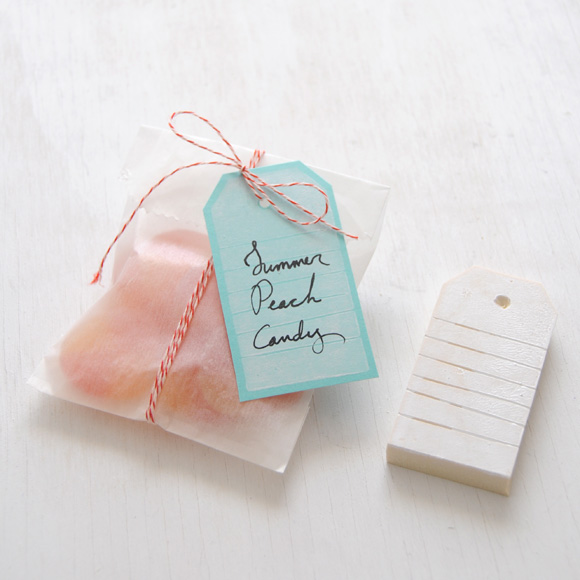 DIY rubber gift tag stamp from an eraser