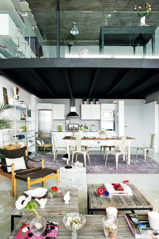 modern loft with vintage furniture
