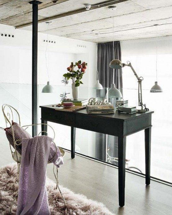 modern loft with vintage touches desk