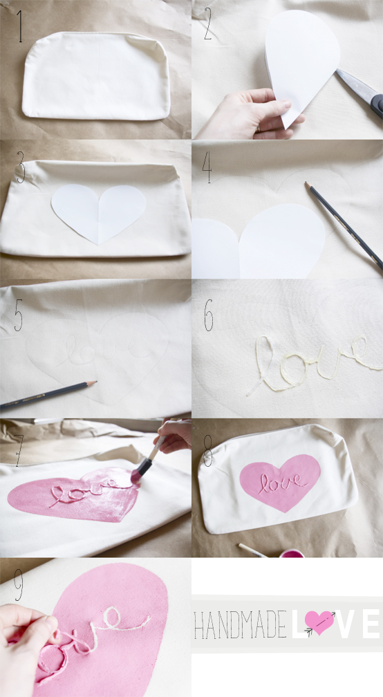 DIY pink love pillow